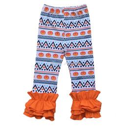 Discount girls striped ruffle leggings - Halloween Christmas girls stripe ruffle pants Baby Warmer Leggings Tights kids Fashion Leggings Trousers cotton Pants 28 colors