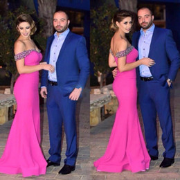 Wholesale Memaid Prom Dresses - Hot Selling Fuschia Memaid Evening Dresses Sexy Off Shoulder Beads Crystal Satin Custom Made Bridal Party Prom Gowns 2017-2018