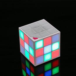 Wholesale Mini Cube Speaker Bluetooth - Stereo Wireless Bluetooth Speaker HiFi music player Speakers LED lighting Magic Cube Design hand free calling FM DHL Free shipping