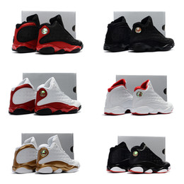 Wholesale Boy Shoes Size 13 - Infant Black cats Boy & girl Retro 13 Bred History of Flight Kids basketball shoes HOF children athletic sports boy girl sneaker size 28-35