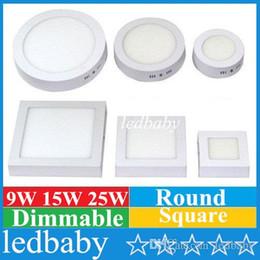 panel de luz led de superficie montada 25w Rebajas Montaje en superficie Led Panel Downlight 9W 15W 25W Dimmable LED Lámpara de techo AC85-265V LED Luz de panel SMD2835 CE CE ROHS