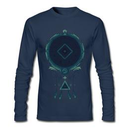 Deutschland Vintage Herren Kompass gedruckt T-Shirt Geheimnisvolle dunkelblau Langarm-T-Shirt für Mann Baumwolle Stoff Kleidung Cosmic Dreaming supplier dream fabrics Versorgung
