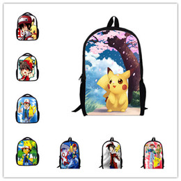 Wholesale water pokemon - 18 Styles Cartoon Anime Poke Go Backpack Pikachu School Bag Canvas student Bags Anti Water Boy Girls Schoolbag PKC041
