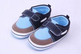 Wholesale Wholesale Cotton Ties For Boys - 2016 Toddler Baby Shoes for Boys Soft Cotton Fabric Patchwork Upper Anti-slip TPR Hard Sole Hook&loop 0-18Months Casual Shoes