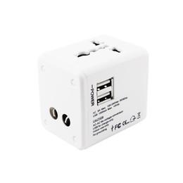 Wholesale Travel Worldwide Plug Adapter - 2 USB port Worldwide Travel Adapter AC TO USB Power Wall Charger US EU UK AU Plug 5V 2.1A For tablet pc Mobile phone