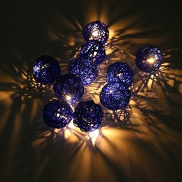 Wholesale Ip44 Plug - Wholesale- 1.8m 10 Rattans Wicker Balls LED String Lights Fairy Led Outdoor Light Wedding Party Decor Waterproof IP44 EU Plug AC220V