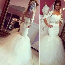 Wholesale Sweetheart Lace Sweep Train Belt - 2017 New Saudi Arabic Mermaid Wedding Dresses Sweetheart Backless Lace Appliques Vestios De Marriage Long Bridal Gowns with Beading Belt