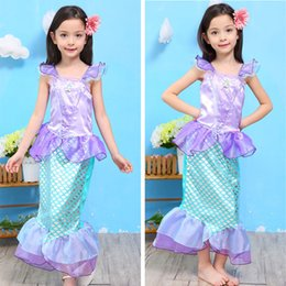Wholesale girls short fancy dress - Baby Girl Clothes Mermaid Kids Girl Mermaid Ariel Princess Cospaly Dress Up Costume 3-10T Mermaid Princess Party Fancy Dress