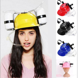 Wholesale Party Beverage - Straw Helmet Drinking Hat Beer Soda Dual Straw Drinking Hat Christmas Party Supplies Beverage Holder Party Hats OOA2648