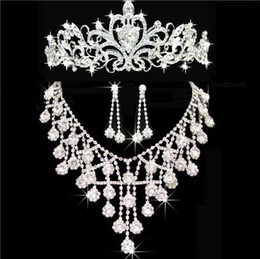 Wholesale Cheap Wedding Jewelry For Brides - 2016 Cheap Bling Crystal Bridal Jewelry Set silver Necklace diamond earrings Party Wedding jewelry sets for bride women Bridal Accessories