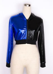 Wholesale Dance Costumes Jacket - New Fashion Women Hip Hop Dance knitted sleeve Jacket Stage Performance Costumes Female Coat with a hood harajuku