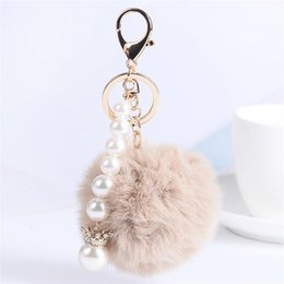 Wholesale handbag rose women wholesale - Fur Ball Fluffy Round Ball with Crown Pearl Strip Rose Gold Plated Metal Keychain Keyring Car Key Chains Handbag Charms Women's Girl's Gift