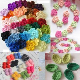 Wholesale Crochet Flower Leave - 50pcs lot colorful yarn crochet flowers leaf as applique for clothes or shoes DIY material handmade knitted flowers leaves accessories