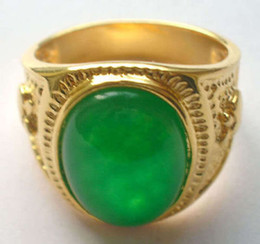 18-каратное нефритовое кольцо онлайн-Ювелирные изделия 18K GP зеленый нефрит мужские кольца (8,9,10,11,12)