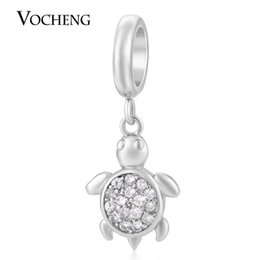 Wholesale Turtle Diy - VOCHENG Endless Charms Turtle Charm Interchangeable Jewelry Non-fading 3 Colors Filled Zircon Brass Material DIY Accessory VC-171