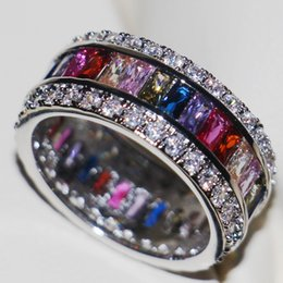 Wholesale Tension Setting Sapphire Ring - Victoria Wieck Luxury Jewelry Princess 925 Sterling Silver Gemstones Multi Stone Simulated Diamond Wedding Party Finger Band Ring Size 5-11