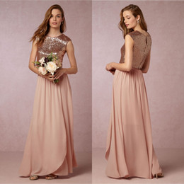 Wholesale Top Bridesmaid Dresses Two Color - 2018 Elegant Blush Pink Two Pieces Bridesmaid Dresses Sequins Top Wedding Maid of Honor Gowns Prom Party Dress