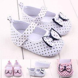 Wholesale Toddler Girl Polka Dot Shoes - New Arrival Wholesale Little Polka Dot Upper Cotton Fabric Bowknot Lace-up Toddler Shoes For Girls Baby Walking Shoes Casual Shoes Fresh