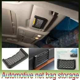 Wholesale Automotive Organizers - New Car Storage Net Automotive Pocket Organizer Bag For Mobile Phone Holder Auto Pouch Adhesive Visor Box Car Accessories