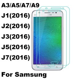 Wholesale Display Packaging Paper - LCD Display Touch Screen Clear Tempered Glass Protector for Galaxy A3 A5 A7 A9 J1 J2 J3 J5 J7 2016 with Paper Package