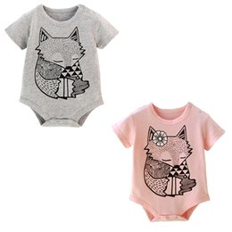 Wholesale Girl Cartoon Hot Fox - Ins hot selling children summer clothes 0-1T infant baby cartoon fox print rompers newborn toddlers pure cotton jumpsuits