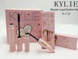 Wholesale Eyeshadow Palette 3d - 3 Styles Kylie Waterproof 3D Mascara+ Eyeliner 2 in 1 Long Eyelash Eyeshadow Makeup Palette Sets