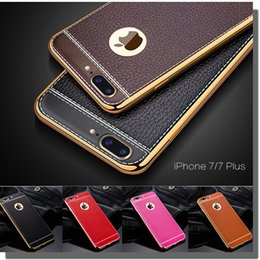 Wholesale Case Back Plate Iphone - Lichee Pattern Soft TPU Rubber Electroplating Plating PU Leather Ultra Slim Thin Back Cover Case For iPhone 8 7 Plus 6 6S SE 5 5S Samsung S8