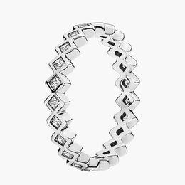 Wholesale Eternity Brand - 925 Sterling Silver Ring Authentic European Brand Fashion Jewelry Square Eternity Silver Ring with Clear CZ