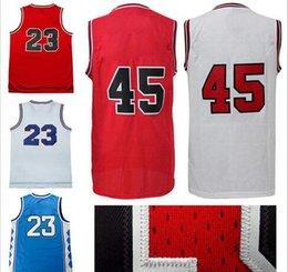 Wholesale Michael Shirts - Cheap retro michael jerseys basketball jerseys #45 23# jersey high quality Jeffrey men throwback sports shirts free shipping
