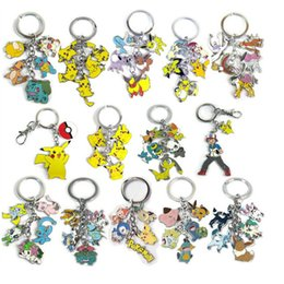 Wholesale Gift Craft Key Rings - 14 Styles Cartoon Poke Metal Pendant Pikachu Poke Ball Keychain Alloy Figures key ring Craft Hot Anime Collection Kids Gifts Toy