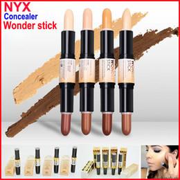Wholesale Wholesale Cream Makeup - NYX Wonder Stick concealer Highlight & Contour Stick Foundation Face makeup Double-ended Contour stick 4Colors Light Medium Deep Universal