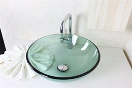 Wholesale Hand Painted Wash Basin - bathroom furniture glass wash basin with stainless steel bracket Water transfer printing glass basin N-603