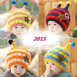 Wholesale Baby Bee Hat - HT-1442 striped bee knitting wool and cashmere earmuffs hat infant male and female baby winter models