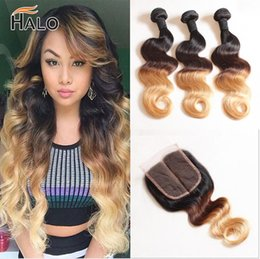 Wholesale Only Products - halo hair products mink Brazilian virgin hair with closure ombre human Hair Body Wave Blonde Bundles With Closure