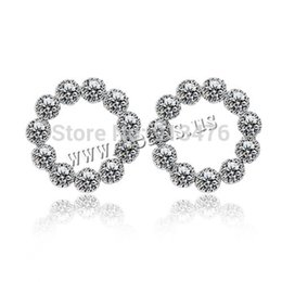 Wholesale Sterling Silver Nose Pins - Free shipping!!!Brass Stud Earring,One Direction, sterling silver post pin, Donut, platinum color plated, with cubic zirconia