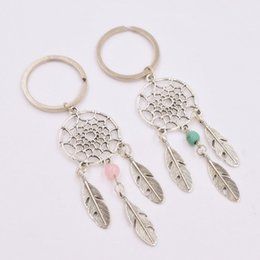 Wholesale Feather Keys - Dreamcatcher Keychain Indian Jewelry 6mm Pink Turquoise Beads Key Holder Birthday Christmas Gifts Women Dream Catcher Key Chain Keyrings