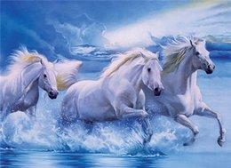 Wholesale Abstract Horse - 5D Diamond Embroidery needlework diy Diamond painting Cross Stitch Kits animal white horse sea full round diamond mosaic Room Decor yx0695