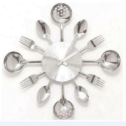 Wholesale Wholesale Antique Knives - Wholesale- 2016 new special offer Modern wall clock knife kitchen clocks watch decorationQuartz Needle Europe metal free shipping