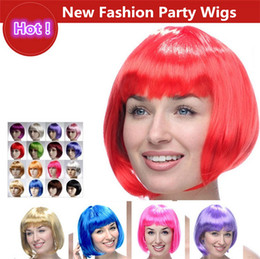 Wholesale New Fashionable Party Wig - New Fashionable BOB style Short Party Wigs 15 colors Halloween Christmas Short Straight Cosplay Wigs Party Fancy Dress Fake Hair Wigs 2141