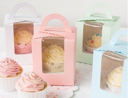 Wholesale Pink Cake Box Cupcakes - Wholesale for 1 cupcake boxes with handle,9.5*9.5*11cm pink green blue white 4 colors cake box,small gift box 100PCS LOT