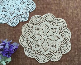 Wholesale Kawaii Mugs - Wholesale- 25CM Kawaii cotton table place mat cloth lace pad crochet placemat cup glass coaster round doilies mug mat kitchen accessories