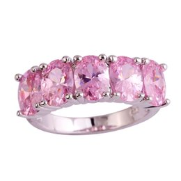wholesale pink topaz jewelry Promo Codes - Fangle 925 Jewelry Oval Gems Pink Topaz Silver Ring Size 6 7 8 9 10 Women Rings Free Shipping Wholesale