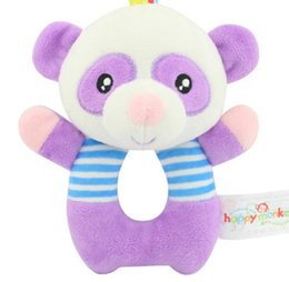 Wholesale Bell Bear - Baby Plush Toys purple Bear Animal Shaped Catoon Hand Bell Ring Rattles Kid Soft Developmental Training Toy