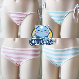 Wholesale Hot Bikini Cosplay - Wholesale-Hot Cute Japanese Style Blue&Pink Stripe Panties Bikini Cosplay Cotton Underwear Classic Ver. & Tie Ver.