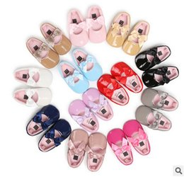 Wholesale Rubber Bands Single - Baby shoes Infant first walker shoes autumn new toddler kids PU leather colorful bows single shoes baby girls dance princess shoe T5004