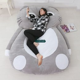 Wholesale Sleeping Cat Plush - Dorimytrader 200cm X 150cm Lovely Cat Plush Sleeping Bag Soft Giant Bed Mattress Sofa Carpet Beanbag 4 Sizes Nice Gift Free Shipping DY61277