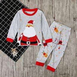 Wholesale Kids Print Long Sleeve Tops - INS Baby Clothing Boys Girls Christmas Santa Claus Pajamas Kids Autumn Long Sleeve Tops+Printed Pants 2pcs Xmas Sets