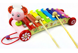 Wholesale Baby Lamb Toys - Children's music toy lamb octave hand knock piano xylophone can drag puzzle 0-3 years old baby educational toys