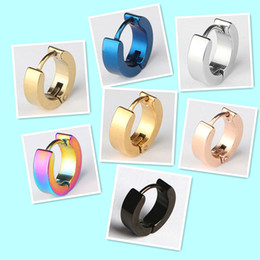 Wholesale Black Rhinestone Hoop Earrings - Wholesale Cool Stainless Steel Stud Earrings Ear Studs Hoop Earrings Black Blue Silver Gold CC Channel Earrings Men Women