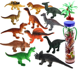 Wholesale Play Dinosaurs - 12pcs lot Dinosaur Toy Set Plastic Play Toys Dinosaur Model Action and Figures Best Gift for Boys